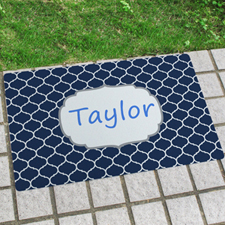 Navy Moroccan Personalized Name Door Mat