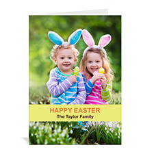Personalized Easter Yellow Photo Greeting Cards, 5X7 Portrait Folded Causal