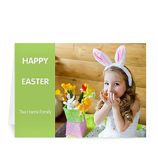 Personalized Easter Green Photo Greeting Cards, 5X7 Folded Modern