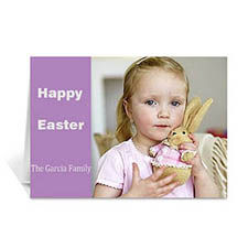 Personalized Easter Purple Photo Greeting Cards, 5X7 Folded Modern