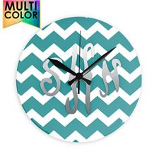 Aqua Chevron Monogram Acrylic Clock