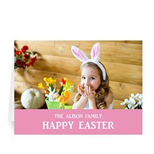 Personalized Easter Pink Photo Greeting Cards, 5X7 Folded Simple