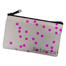 Fuchsia Natural Polka Dots Personalized Cosmetic Bag