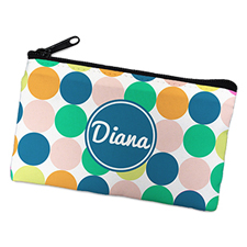 Navy Colorful Large Dots Personalized Cosmetic Bag