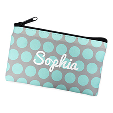 Aqua Grey Large Dots Personalized Cosmetic Bag