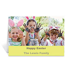Personalized Easter Yellow Photo Greeting Cards, 5X7 Folded Simple