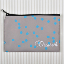 Custom Printed Turquoise Natural Polka Dots Zipper Bag