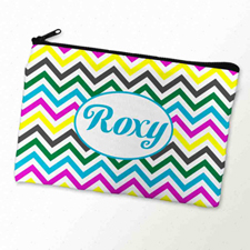 Custom Printed Yellow Colorful Chevron Zipper Bag