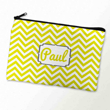 Custom Printed Yellow And Charcoal Monogrammed Zipper Bag