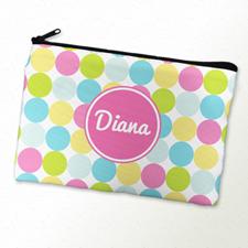 Custom Printed Pink Colorful Dot Zipper Bag