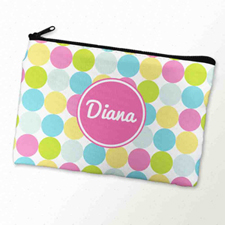 Custom Printed Pink White Large Dots Zipper Bag