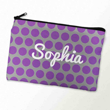Custom Printed Purple Grey Large Dots Zipper Bag
