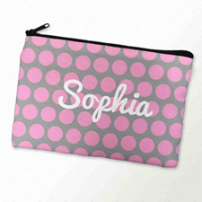 Custom Printed Pink Grey Large Dots Zipper Bag