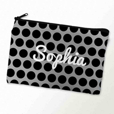 Custom Printed Black Grey Large Dots Zipper Bag