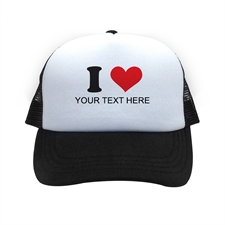 I Love Personalized Trucker Hat, Black