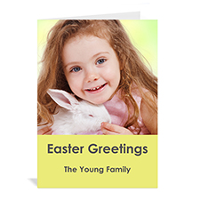 Personalized Easter Yellow Photo Greeting Cards, 5X7 Portrait Folded Simple