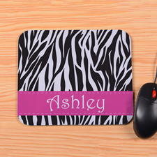 Personalized Zebra Print Mouse Pad