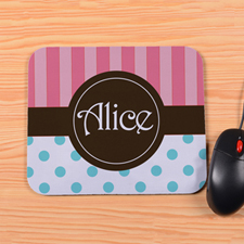 Personalized Carol Stripe Aqua Polka Dots Mouse Pad