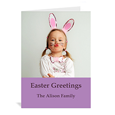 Personalized Easter Purple Photo Greeting Cards, 5X7 Portrait Folded Simple