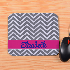 Personalized Grey Chevron Mouse Pad