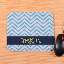 Personalized Blue Chevron Mouse Pad