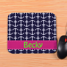 Personalized Navy Anchor Mouse Pad