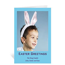 Personalized Easter Blue Photo Greeting Cards, 5X7 Portrait Folded Causal