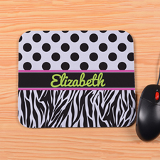 Personalized Polka Dots & Zebra Mouse Pad