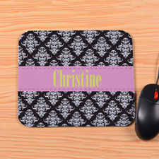 Personalized Vintage Pink Stripe Mouse Pad