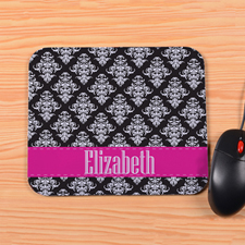 Personalized Vintage Fuchsia Stripe Mouse Pad