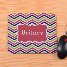 Personalized Red Lime Navy Chevron Mouse Pad