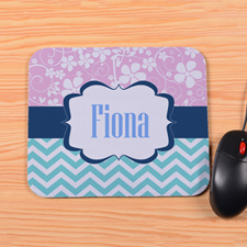 Personalized Pink Floral Aqua Chevron Mouse Pad