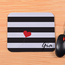 Personalized Grey Stripe Heart Mouse Pad