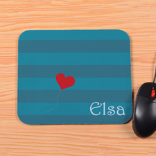 Personalized Peacock Stripe Heart Mouse Pad