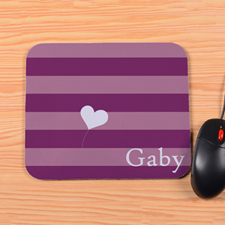 Personalized Purple Stripe Heart Mouse Pad