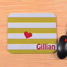 Personalized Yellow Stripe Heart Mouse Pad