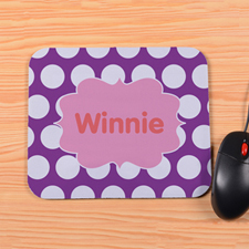 Personalized Purple Polka Dots Mouse Pad