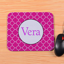 Personalized Fuchsia Clover Mouse Pad