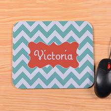Personalized Aqua Chevron Mouse Pad