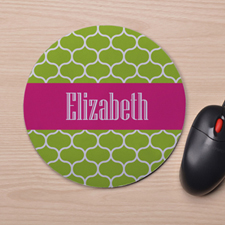 Custom Printed Lime Clover Design Mouse Pad