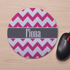 Custom Printed Fuchsia Chevron Design Mouse Pad