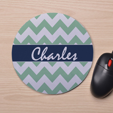 Custom Printed Green Chevron Design Mouse Pad