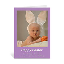 Personalized Easter Purple Photo Greeting Cards, 5X7 Portrait Folded Causal