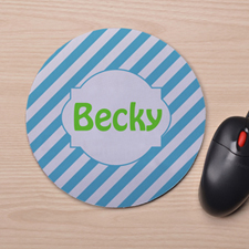 Custom Printed Aqua Stripes Design Mouse Pad