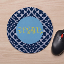 Custom Printed Blue Interlock Design Mouse Pad