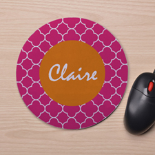 Custom Printed Fuchsia Clover Design Mouse Pad