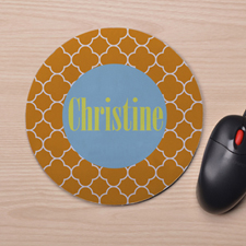 Custom Printed Orange Clover Design Mouse Pad