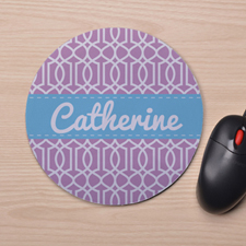 Custom Printed Lavender Interlock Design Mouse Pad