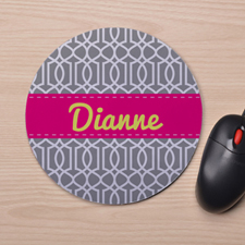 Custom Printed Grey Interlock Design Mouse Pad