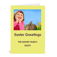 Personalized Easter Yellow Photo Invitation Cards, 5X7 Portrait Folded